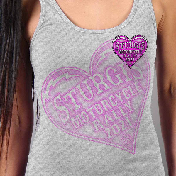 Official 2021 Sturgis Motorcycle Rally SPL2754 Ladies Heather Gray Heart Angel Wings Tank Top