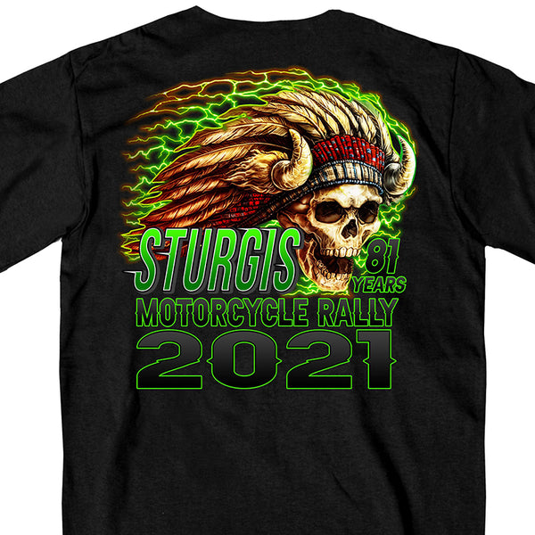 Official 2021 Sturgis SPM1940 Men's Motorcycle Rally Web Exclusive Skeleton Chief Short Sleeve Black T-Shirt