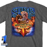 Official 2021 Sturgis SPM1942 Men's Motorcycle Rally #1 Design American Spirit Heather Charcoal T-shirt - Hot Leathers Mens Short Sleeve Printed Shirts