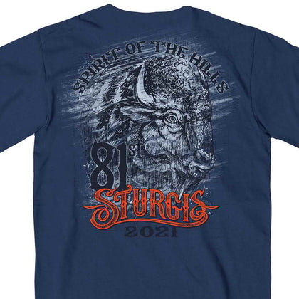 Official 2021 Sturgis Motorcycle Rally SPM1970 Men's Heather Denim Wild Buffalo T Shirt