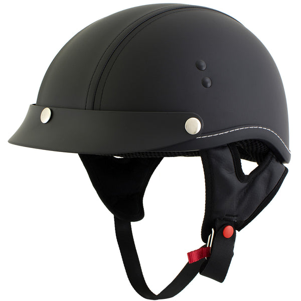 Outlaw T70 'Dark Rider' Advance DOT Black Leather Like Half Helmet with Snap Visor - Outlaw Half Helmets