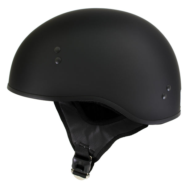 Outlaw T68-SP 'The O.G.' No Logo Flat Black Motorcycle DOT Skull Cap Helmet - Outlaw Half Helmets