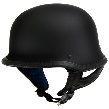 Outlaw T-75 'The Hanz' German Style Flat Black Advanced Motorcycle Half Helmet - Outlaw Half Helmets