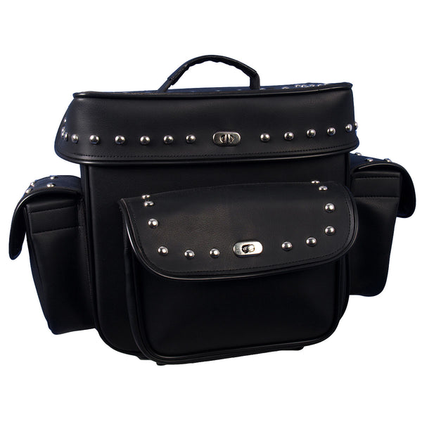 Hot Leathers TRB1005 Motorcycle PVC Waterproof Studded Travel Bag 13X13X7 - Hot Leathers Bags and Luggage
