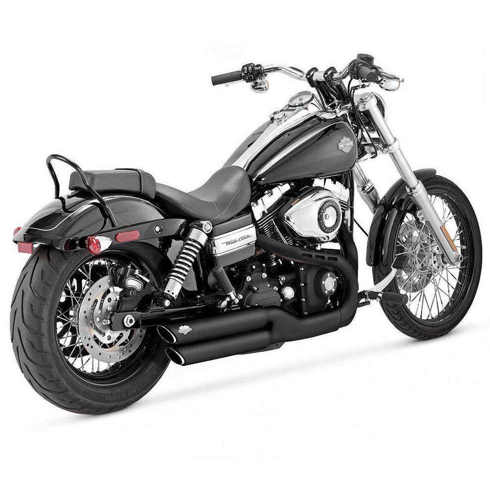 Vance and Hines Round Twin Slash 3in. Slip-On Exhaust for Harley Davidson 2008-2015 FXDF, 2010-2015 FXDWG