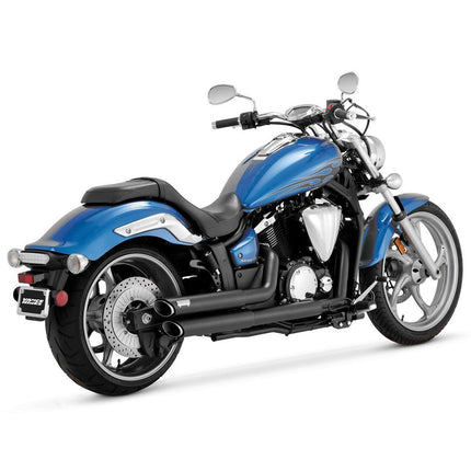 Vance and Hines Twin Slash Staggered Black Full System Exhaust for Yamaha 2011-13 Stryker