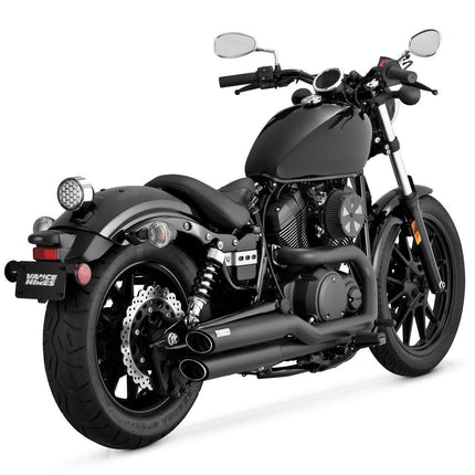 Vance and Hines Twin Slash Staggered Black Full System Exhaust for Yamaha 2014 Bolt models