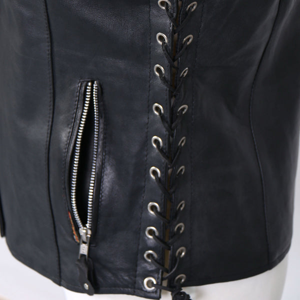 Hot Leathers VSL1010 Ladies Black Lambskin Side Lace Vest with Gun Pocket - Hot Leathers Ladies Vest