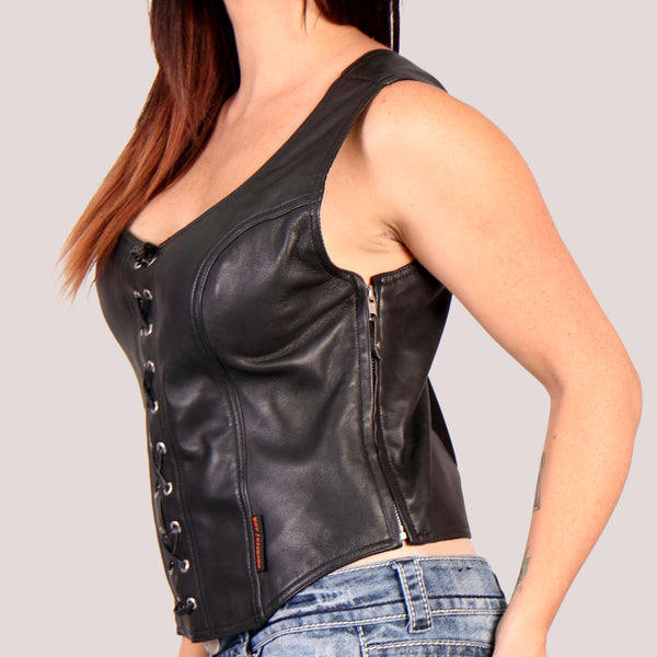Hot Leathers VSL3003 Ladies Lace-Up Halter Top Leather Vest - Hot Leathers Ladies Vest
