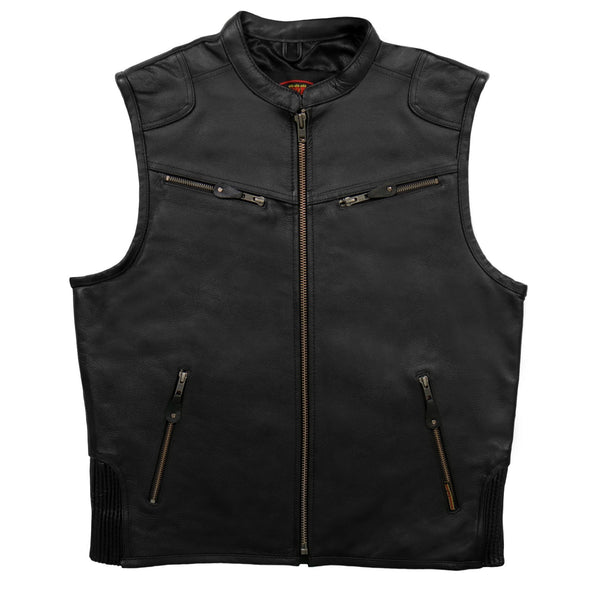 Hot Leathers VSM1037 Zipper Pocket Concealed Carry Leather Vest - Hot Leathers Mens Vest