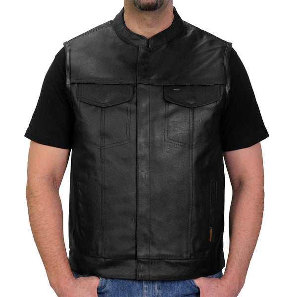 Hot Leathers VSM1039 Men's Black 'Conceal and Carry' Club Leather Vest