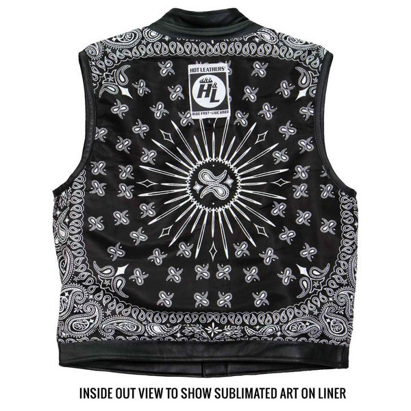 Hot Leathers VSM1049 Men's Black 'Paisley' Conceal and Carry Leather Vest