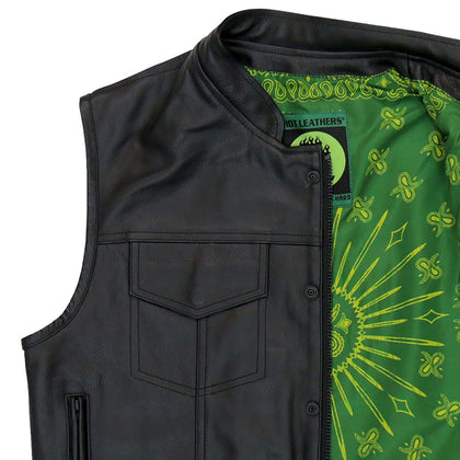 Hot Leathers VSM1050 Men's Paisley Green Liner Black Leather Vest with Carry Conceal Pockets - Hot Leathers Mens Vest