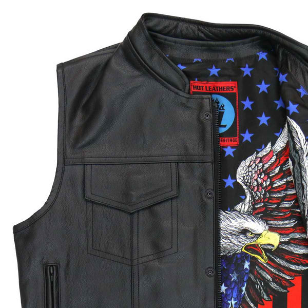 Hot Leathers VSM1052 Men's Black 'Patriotic' Conceal and Carry Leather Vest