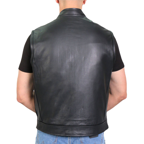Hot Leathers VSM1057 Men's Black 'Mexican Blanket' Conceal and Carry Leather Vest