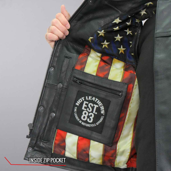 Hot Leathers VSM1056 Men's Black 'Vintage USA Flag' Conceal and Carry Leather Vest