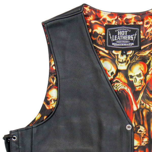 Hot Leathers VSM1061 Men's Black 'Skulls Make Skulls' Conceal and Carry Side Lace Leather Vest