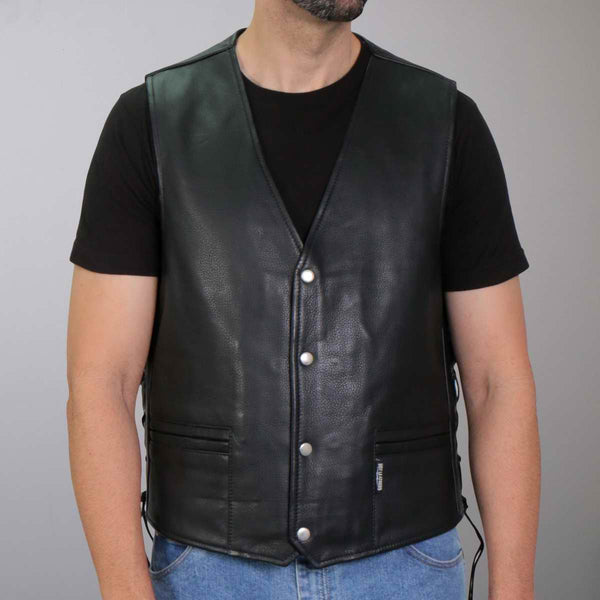 Hot Leathers VSM1063 Men's Black 'Blessed' Conceal and Carry Side Lace Leather Vest