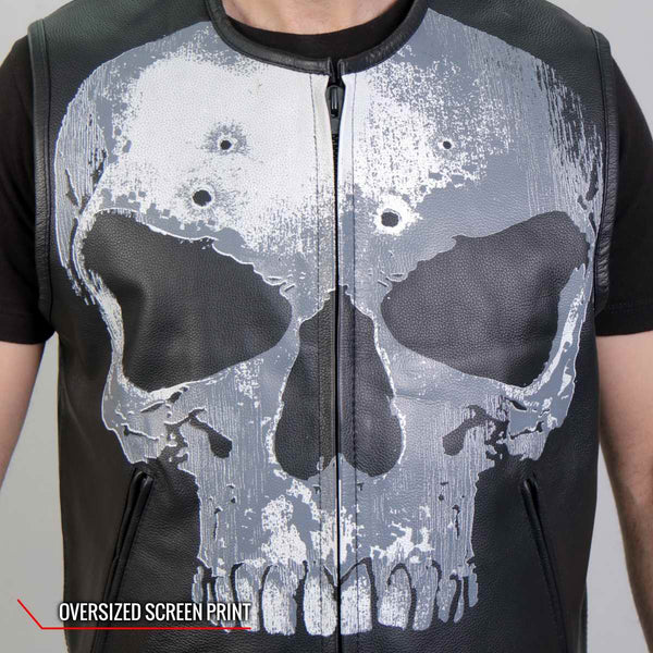 Hot Leathers VSM2001 Men's Black 'Jumbo Skull' Conceal and Carry Leather Vest