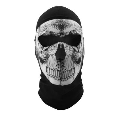 Zan Headgear WBC002NFME Balaclava Coolmax Extreme Full Mask Black and White Skull - Zan Headgear Balaclava