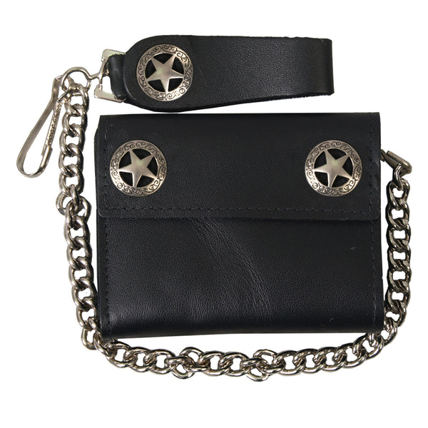 Hot Leathers WLA1010 Western Star Black Leather Wallet with Chain - Hot Leathers Wallets