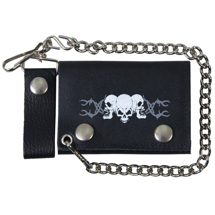 Hot Leathers WLB1014 Barbed Wire Skulls Black Leather Wallet with Chain - Hot Leathers Wallets