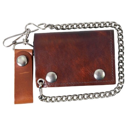 Hot Leathers WLC2009 Antique Brown Tri-Fold Leather Wallet with Chain - Hot Leathers Wallets