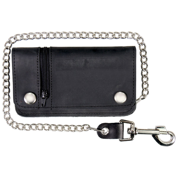 Hot Leathers WLC3101 Black Naked Leather Wallet with Change Pocket and Chain - Hot Leathers Wallets