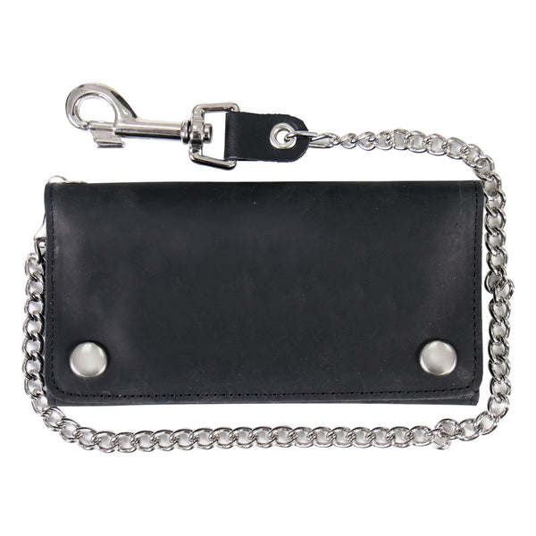 Hot Leathers WLC3102 Black Naked Leather Tri-Fold Wallet with Chain - Hot Leathers Wallets