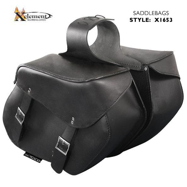 Xelement X1653 'Classic' Black Heavy Duty Premium Cowhide Leather Motorcycle Saddlebags