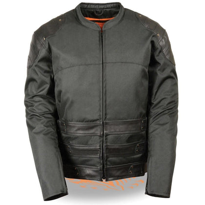 Milwaukee Leather  MPM1755 Mens Assault Style Black Leather/Textile Jacket with Gun Pock - N/A