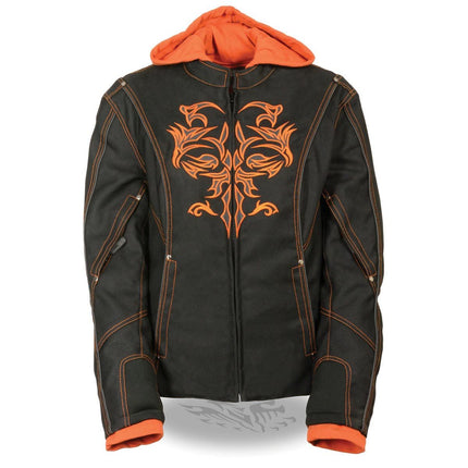 NexGen Women's Reflective Tribal 3/4 Length Black/Orange Textile Hoodie