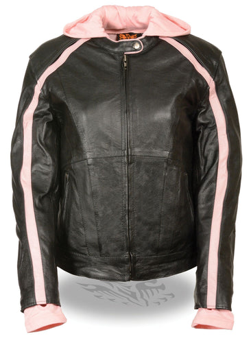 Milwaukee Leather Women's Striped Black/Pink Leather Jacket with Zip-Out Hoodie and Gun Pocket