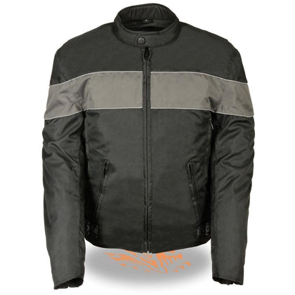 Milwaukee Leather-SH212101- Men's Black Textile Scooter Jacket with Grey Reflective Striping