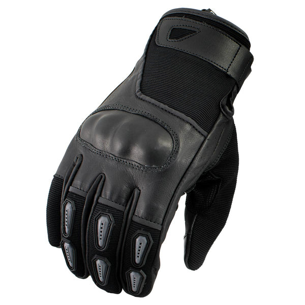 Xelement XG-7795 Men's Black Leather Padded Protective Racing Gloves with i-Touch Technology - Xelement Mens Leather Gloves