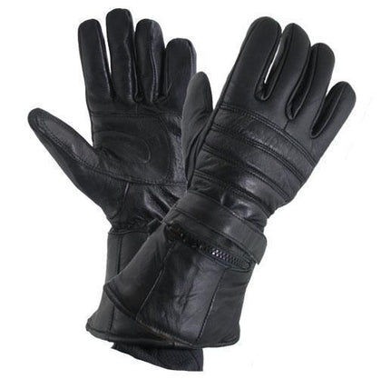Xelement XG1227 'Gauntlet' Men's Black Leather Gloves with Rain Cover and Long Cuff - Xelement Mens Gloves