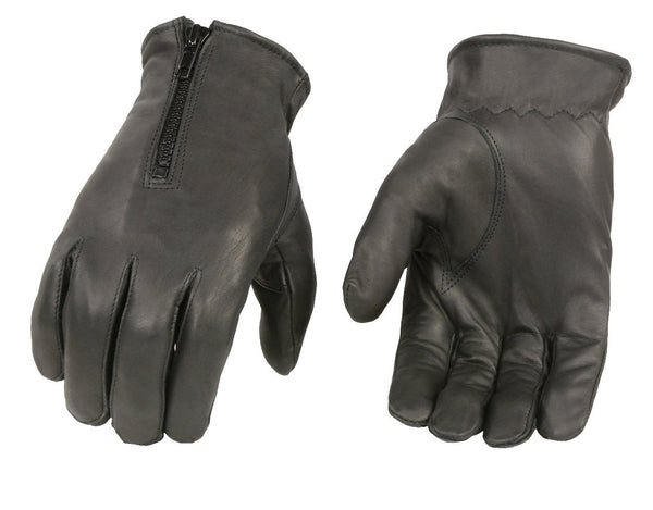 Xelement XG37531 Men's Black Unlined Leather Gloves with Zipper Closure - Xelement Mens Leather Gloves