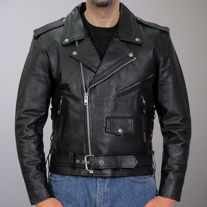 Men's Classic Motorcycle Leather Jacket with Zip Out Lining - Hot Leathers Men's Jackets