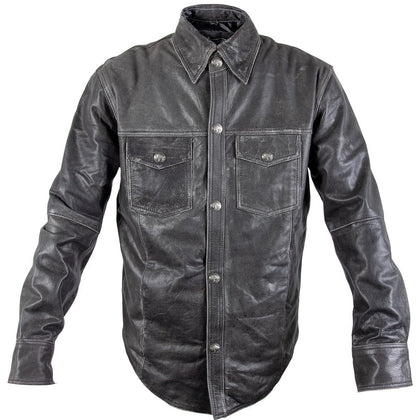 Xelement XS-921G Men's Distress Dark Gray Vintage Style Leather Shirt with Buffalo Buttons - Xelement Mens Leather Shirts
