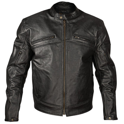 Xelement XSPR105 'The Racer' Mens Black Armored Leather Racing Jacket - Xelement Means Leather Jackets