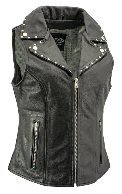 Xelement 'Dita' XS1028 Ladies Black Leather Vest with Riveted M/C Lapel Collar - Xelement Womens Leather Vests