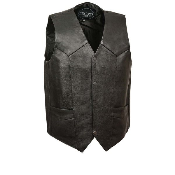 Men's XS102T Tall Size Black Classic Motorcycle Vest with Gun Pocket - Genuine Leather Mens Leather Vests