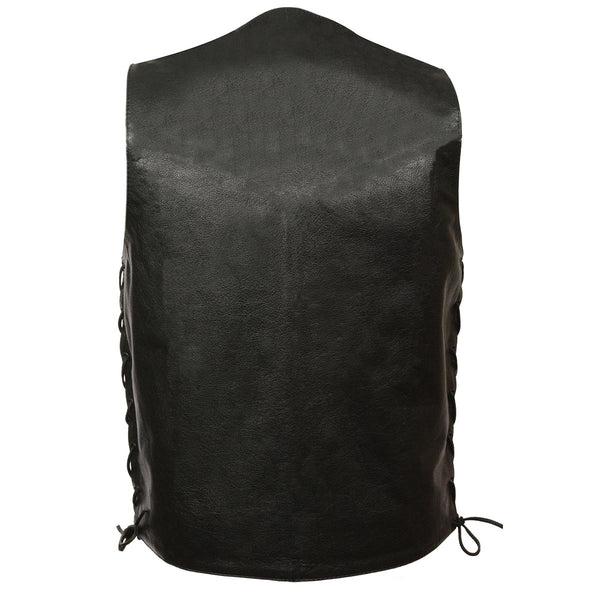 Men's XS103T Tall Size Classic Black Side Laced Biker Leather Vest with Inside Gun Pocket - Genuine Leather Mens Leather Vests