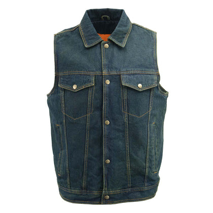 Men's XS107 Classic Blue Snap Front Denim Vest with Shirt Style Collar - Genuine Leather Mens Denim Vests