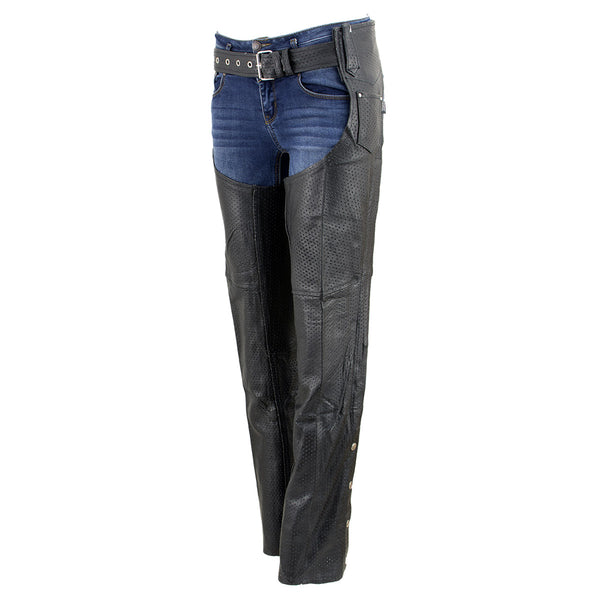 Genuine Leather XS1115P Ladies Black 'Perforated' Cowhide Leather Chaps - Genuine Leather Womens Leather Chaps