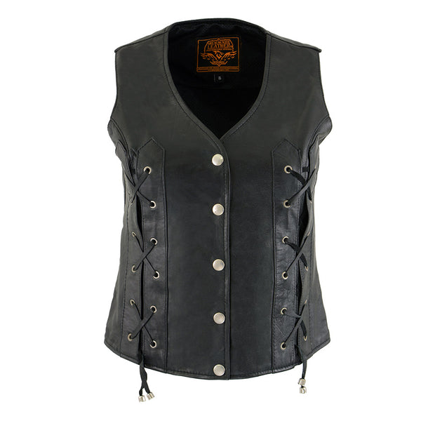 Milwaukee Leather XS1216 Ladies Black Leather Vest with Front Laces and Dual Gun Pockets - Milwaukee Leather Womens Leather Vests