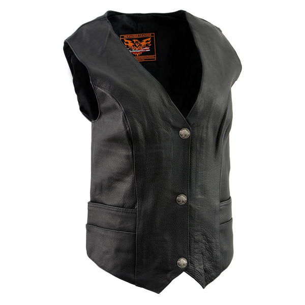 Milwaukee Leather XS1253 Women's Classic Black Leather Vest with Buffalo Nickel Snap Buttons - Milwaukee Leather Womens Leather Vests