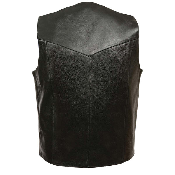 Leather King XS1310 Men's Classic Black Leather Vest with Snap Button Closure - Leather King Mens Leather Vests