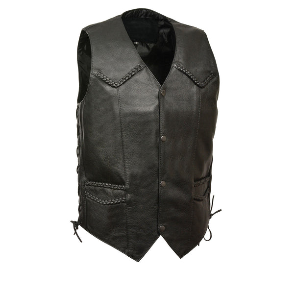 Men's XS13512 Black Classic Braided Motorcycle Vest with Gun Pocket - Genuine Leather Mens Leather Vests