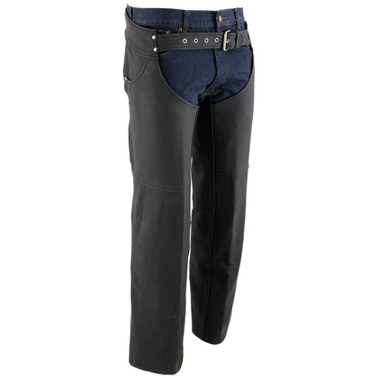 Xelement XS15000 'Flat Black' Mens Leather Black Chaps with Jean Pockets